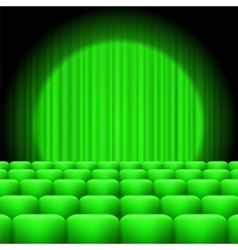 Green Curtains with Spotlight and Seats vector image vector image