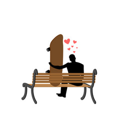 Lover skateboarding guy and skateboard sitting on vector