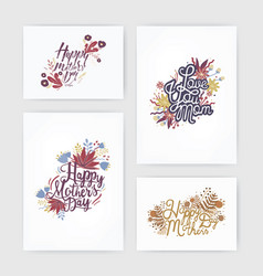 set of horizontal and vertical postcards with vector image