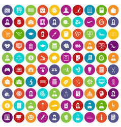 100 statistic data icons set color vector