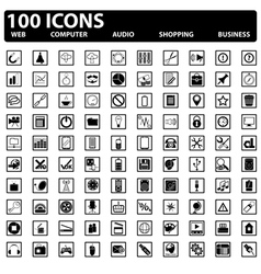 100 web icons set vector