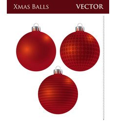 A set of dark red christmas balls vector
