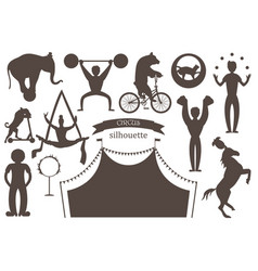 A set of flat silhouettes of circus artists vector