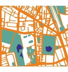 Abstract city map with streets buildings and park vector