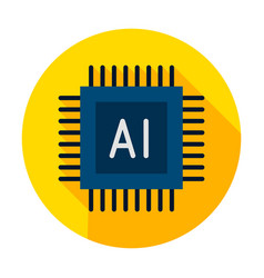 ai microchip circle icon vector image