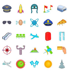 aircraft pilots icons set cartoon style vector image