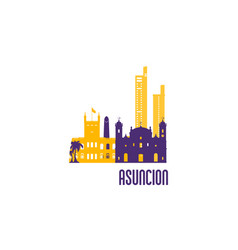 Asuncion city emblem colorful buildings vector