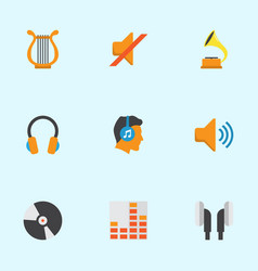 audio flat icons set collection of controlling vector image