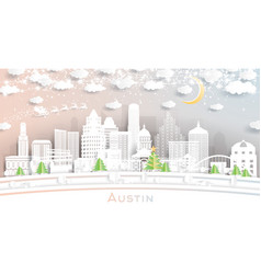 Austin texas city skyline in paper cut style vector