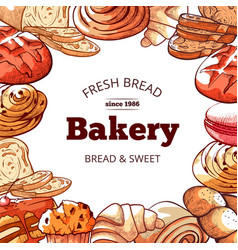 Bakery products fresh and tasty bread background vector