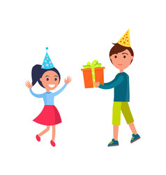 Birthday girl receiving present brother with gift vector