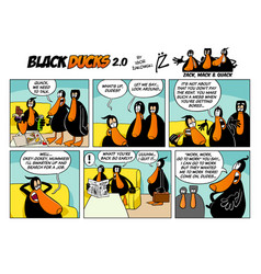 Black ducks cartoon comic strip 2 episode 1 vector