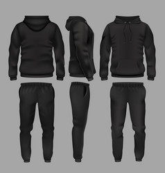 Black man sportswear hoodie and trousers vector