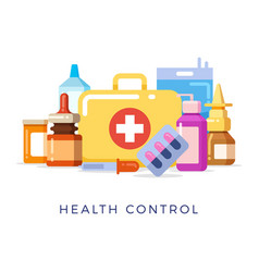 bright first aid kit concept vector image