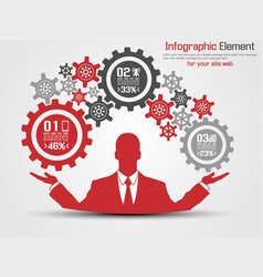 businessman infographic gear red vector image