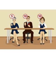 businesspeople in conference showing score cards vector image
