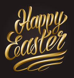 calligraphic happy easter lettering template vector image