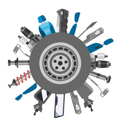 Car spares and auto parts top view vector