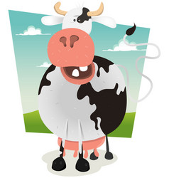cartoon funny cow vector image