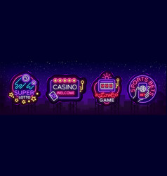 Casino collection of neon signs design template vector
