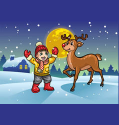 cheerful boy with reindeer in the middle of snowy vector image