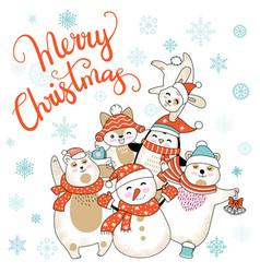 christmas card congratulations with cute cartoon vector image