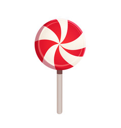christmas striped peppermint candy lollipop vector image