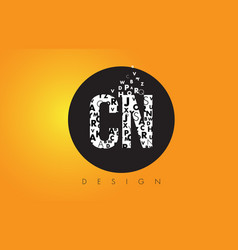 Cn c n logo made of small letters with black vector