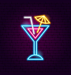 cocktail neon sign vector image