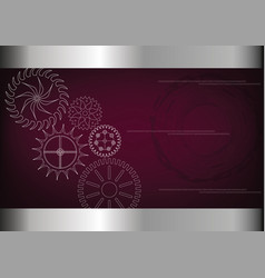 Cogwheels on a burgundy vector