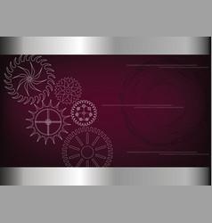 cogwheels on a burgundy vector image