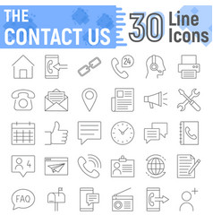 contact us thin line icon set web sign collection vector image