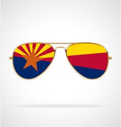 Cool gold aviator sunglasses with arizona az flag vector