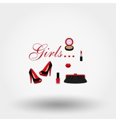Cosmetics shoes bag vector
