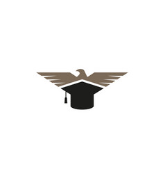 Creative abstract eagle bird graduation hat logo vector