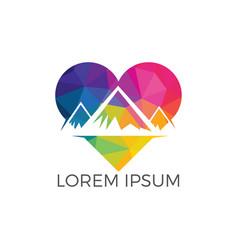 creative mountain and love logo design vector image