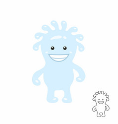 cute blue cartoon monster vector image