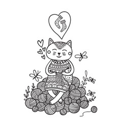 Cute cat knitting on yarn balls vector