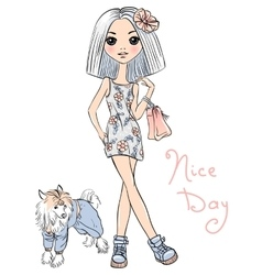 Cute fashion girl with dog vector