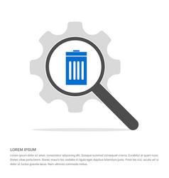 Delete icon search glass with gear symbol icon vector