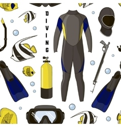 Diving equipment pattern vector