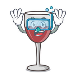 diving wine character cartoon style vector image
