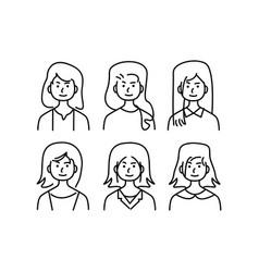 Doodle set avatar female character eps 10 vector