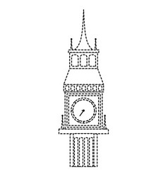 Dotted shape big ben london journey vacation vector