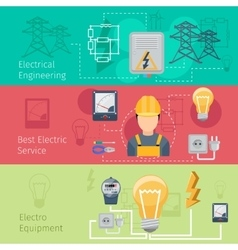 Electricity and power industry horizontal banners vector image
