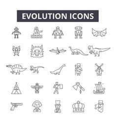 evolution line icons signs set outline vector image