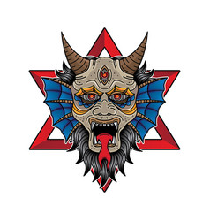 face devil flash tattoo design vector image