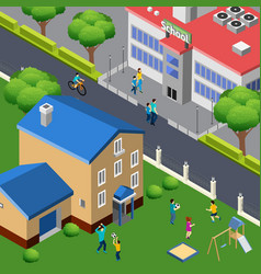 Family outdoor isometric composition vector