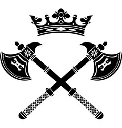 fantasy axes and crown vector image