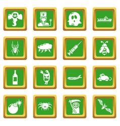 Fears phobias icons set green square vector